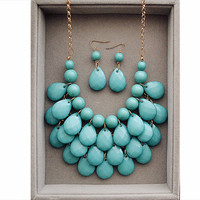 Turquoise Aqua Teardrop Statement Bib Necklace Kate Spade Inspired