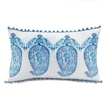 Tasseled Blue Paisley Throw Pillow