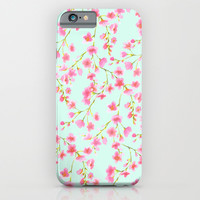 Cherry Blossom Pink Mint (for Mackenzie) iPhone & iPod Case by Jacqueline Maldonado