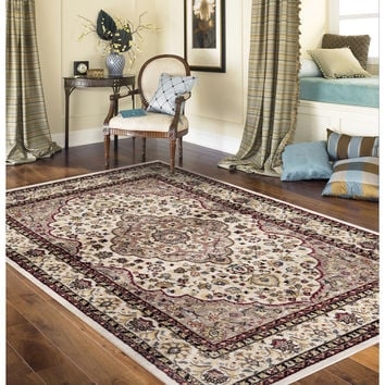 Traditional Oriental Persian Style Cream 3 ft. 3 in. x 5 ft. Indoor Area Rug | Overstock.com Shopping - The Best Deals on 5x8 - 6x9 Rugs