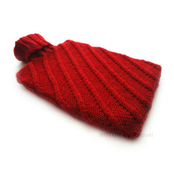 Red Knitted Hot-water Bottle Cover