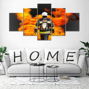 5 PCS Fire Rescue Wall Art Firefighter Fireman Flames Print Picture on Canvas