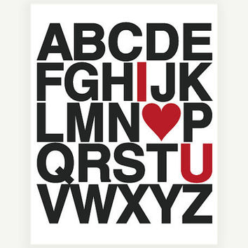 I Heart U Alphabet Art Print 11x14 28x35 cm by by colorbee