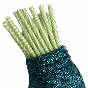 "7.75"" lime green multi-stripe print paper straws / 6-25 pieces"