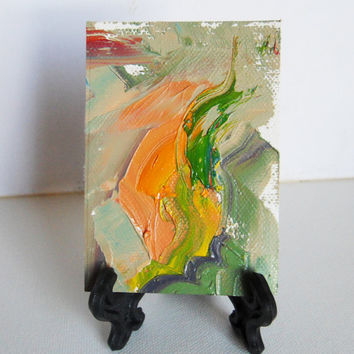 ACEO ORIGINAL abstract thick oil painting Tiny by brandycattoor