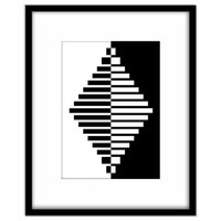 Printable Office Art, Geometric Diamond, Black and White, Modern Home Decor