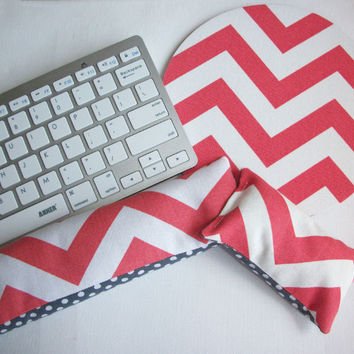Mouse pad, keyboard rest, and mouse wrist rest set - coral and white chevron with white dots on gray coworker desk cubical office accessories