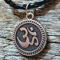 Om Engraved Unisex Spiritual Hippie Buddhist Yoga Meditation Zen Necklace