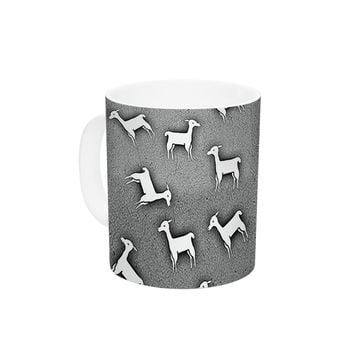 "Monika Strigel ""Llama Multi"" Gray Ceramic Coffee Mug"