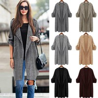 2019 Spring Korean Women Windbreaker Loose Long Sleeve Jacket Solid Long Coat Overcoat Elegant Office Ladies Large Size 3xl 5xl