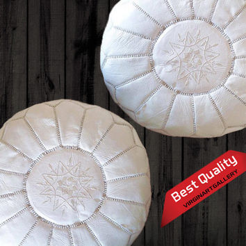 Ottoman Pouf - The Best Couple Poufs /White and Tan,Ottoman Storage,Moroccan Pouf,Chairs and Ottomans,Gift for kids,birthday And wedding.