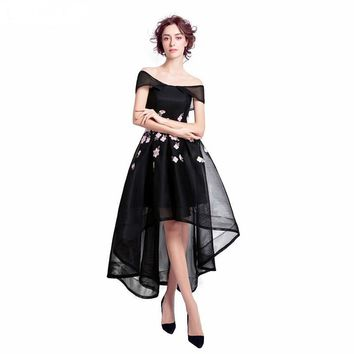 Black Tulle Prom Dresses Zip Back Prom Dress Scoop Neck With Flowers Hi-Low Prom Dresses