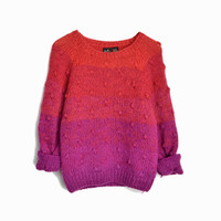 Vintage 90s Ombre Dot Sweater in Raspberry Pink Red - women's small