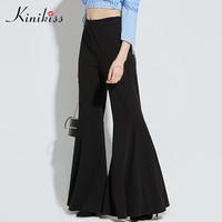 Kinikiss Women Pants Black Mid Waisted Bellbottoms 2017 New Plain Flared Ankle Length Female Fashion Wide Leg Pants Casual Pant