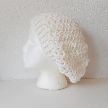 Crochet Lacy Slouch Hat in White, ready to ship.