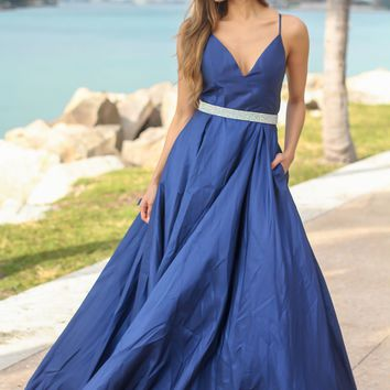 Navy Dress with Criss Cross Back