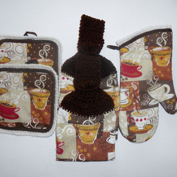 Coffee Kitchen Set, Hanging Towels, Pot Holders, Oven Mitt, Brown Kitchen Decor, Crochet