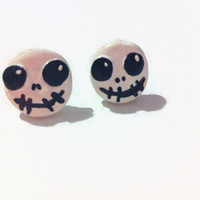 Nightmare Before Christmas Inspired Earrings, Jack Skellington, Halloween Jewelry, Polymer Clay Charms, gift ideas, kawaii, skull jewelry