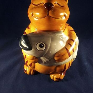 Happy Cat Holding Gray Fish Cookie Jar