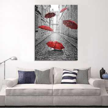 Canvas Art Red Umbrellas on Paris Street - Paris France Street Canvas Art - Umbrellas in Paris Road Canvas Print - Eiffel Tower Canvas Print