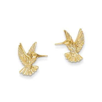 14mm Polished Hummingbird Post Earrings in 14k Yellow Gold