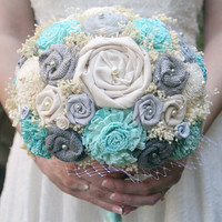 Handmade Grey & Aquamarine Bouquet - Sola Wood Flowers, Fabric Flowers, Burlap, Gray, Birdcage Netting - Alternative Wedding Bouquet, Aqua