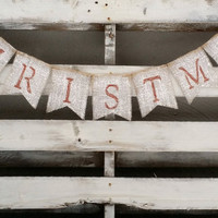 Christmas Burlap Banner, Winter Banner, Holiday Decor, Rustic Winter Decor, Holiday Photo Prop