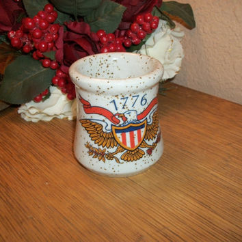 Vintage Home Decor Bi-Centennial Votive Candle Holder Ceramic Jar American Eagle Red White Blue Patriotic 1776 Lenox Americana Collection