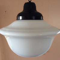 Vintage School House Hanging Light Milk Glass Art Deco Church Light 1920s