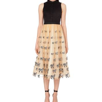 Alice Olivia Zebra-motif silk tulle mid length Kir Dress