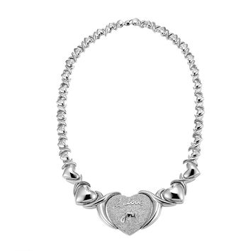 "Heart Shape XOXO Link Womens Gorgeous Necklace 20"" Silver Tone Hugs & Kisses"
