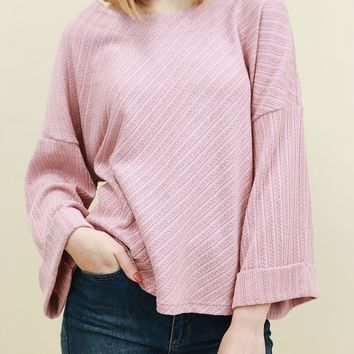 Folded Hem Knit Ribbed Top