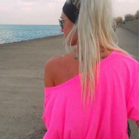 Plain One Shoulder Off  Loose Shirt