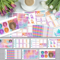 Toronto Sound Afro Girl Weekly Planner Sticker Kit/ Erin Condren Planner Accessories/ ECLP Pastel Colors Organizer Music Lover Sticker Sheet