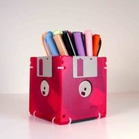 Floppy Disk Pen and Pencil Holder Translucent Red by GeekGear