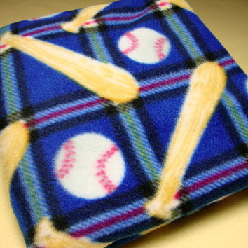 Baby Boy Blanket, Baseball Theme, Soft Fleece, Can be Personalized, Handmade Blanket, Baby Shower Gift, Gift for Boy, Infant Blanket, Blue