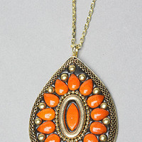 The Teardrop Jewel Medallion Necklace in Orange