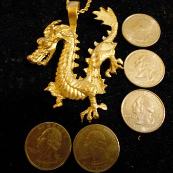 bling gold plated chinese fire dragon myth fantasy stonehenge celtic pagan pendant charm rope chain hip hop necklace