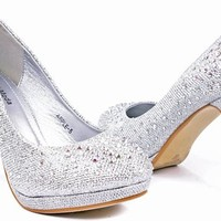 JJF Shoes Apple5 Silver Rhinestone Glitter Sparkling Bling Formal Evening Pumps-10