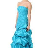 strapless sequin lace and ruffle prom dress with full skirt