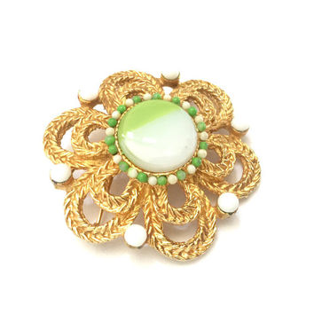 Alice Caviness Floral Brooch, Layered Braided Gold Tone Metal, Art Glass Green & White Cabochon, White and Green Milk Glass, Vintage Signed