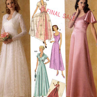 30s Wedding Gown and capelet shrug sewing pattern Simplicity 4270 1930s Retro Sewing Guild Sz 8 to 16