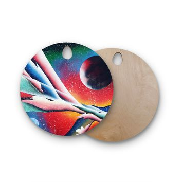 "Infinite Spray Art ""String Theory"" Round Wooden Cutting Board"