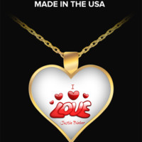 I Love Justin Bieber gold plated heart shaped pendant Made in USA - For Justin Bieber Fans