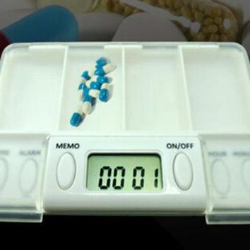 Time Reminder Pill Storage Box With LED