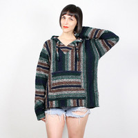 Vintage Green Brown Striped Baja Hoodie Woven Knit Ethnic Poncho Pullover Jacket Boehmian Hippie Surfer Top 1990s 90s Grunge Boho M Medium L