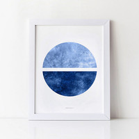 Printable art, Modern abstract print, Navy blue Circle art, Minimalist print, Ocean art, Circle print, Watercolor, Blue print, Geometric art