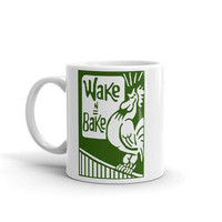 Wake & Bake Green Coffee Mug By Twisted420Glass - Coffee and Cannabis - Coffee Cup - Stoner Gift