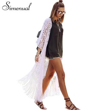 Simenual Boho fringe summer beach cover up lace blouse shirt hollow out sexy long cardigan swimwear output white women blouses