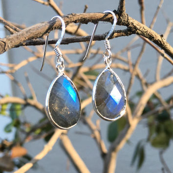 Sterling Silver Faceted Labradorite Pear Drop Dangle Earrings